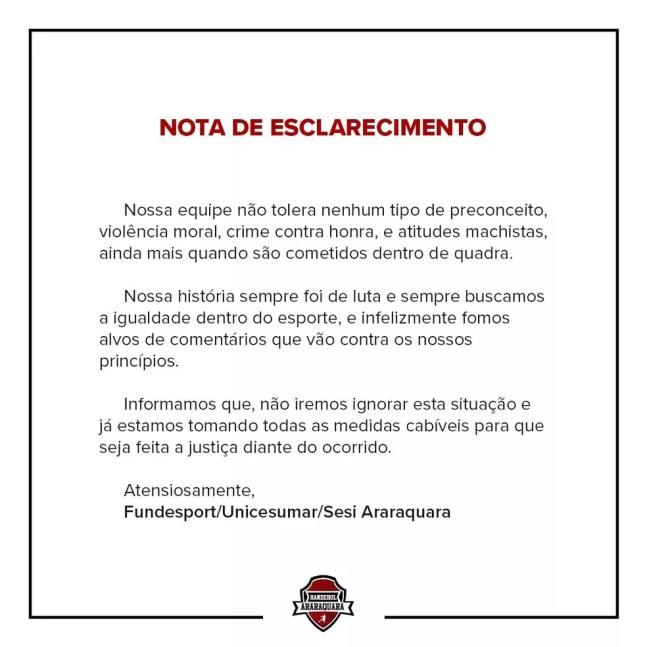 Nota oficial do time de Araquara sobre o caso de assédio no Brasileiro de handebol — Foto: Divulgação