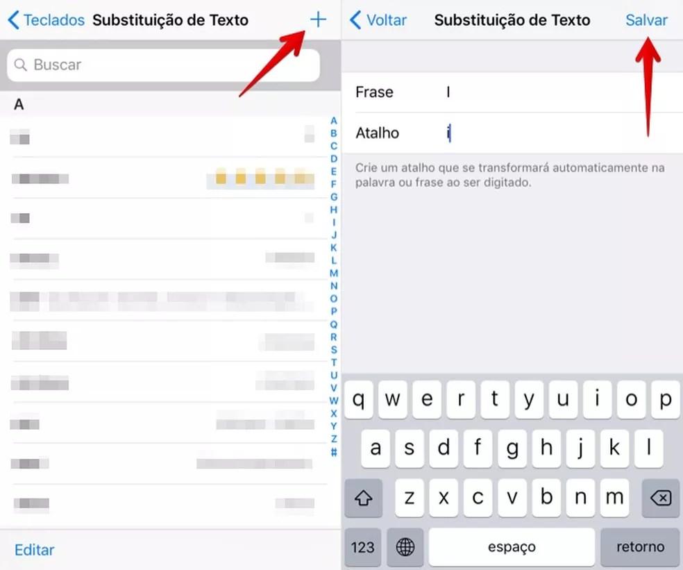 Adicionando atalho de substituição de texto (Foto: Reprodução/Helito Bijora)