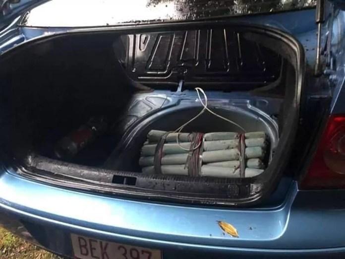 Segundo as investigações, carro com explosivos seria usado no resgate do brasileiro Marcelo Piloto, preso no Paraguai — Foto: Polícia Nacional do Paraguai/Divulgação