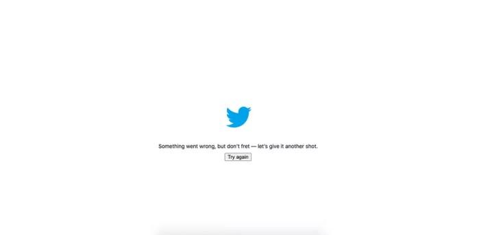 Twitter caiu e exibe mensagem de erro — Foto: Reprodução/Aline Batista