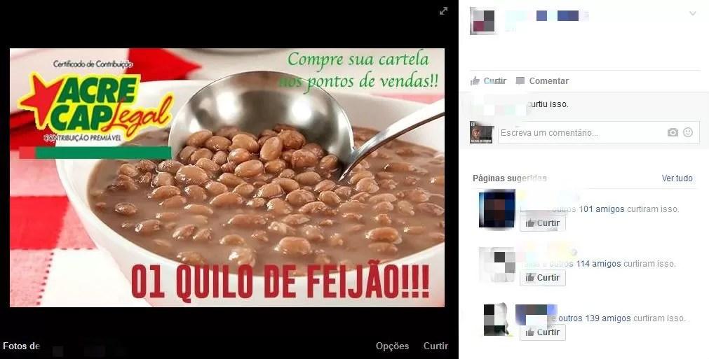 Acreanos compartilharam memes sobre alta no preço do feijão (Foto: Reprodução/Facebook)