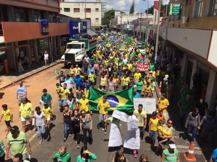 Manifestação Uberlândia (Foto: Stanley Matias/G1)