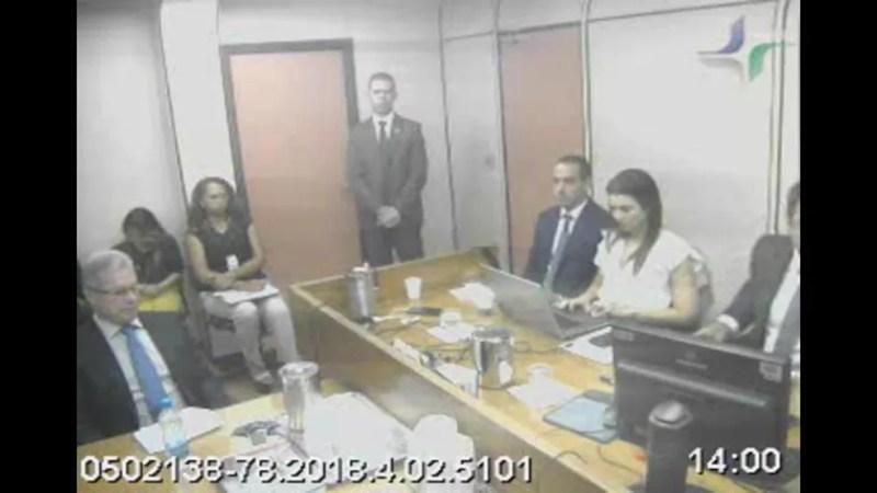 Jacob Barata Filho em audiência com o juiz Marcelo Bretas — Foto: Reprodução
