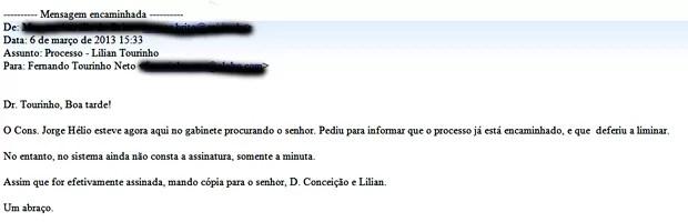 E-mail enviado por assessor ao desembargador Tourinho Neto, que o encaminhou por engano para a Ajufe (Foto: Reprodução)