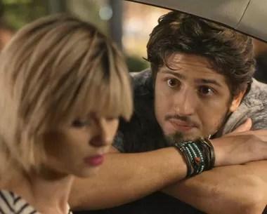 Rafael conversa com Lu na saída do evento (Foto: TV Globo)