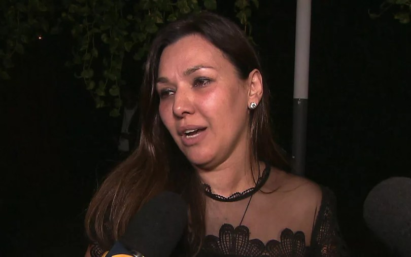 Veruska Boechat, viúva de Ricardo Boechat, durante o velório do jornalista — Foto: Reprodução/TV Globo