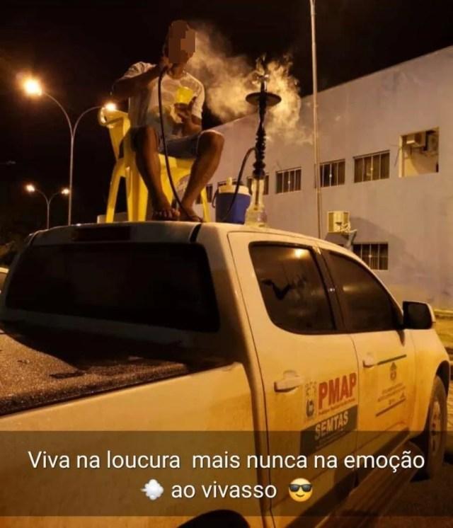 Caminhonete apresentou danos na lataria e Polícia Civil aguarda laudos periciais para punir jovens — Foto: WhatsApp/Reprodução