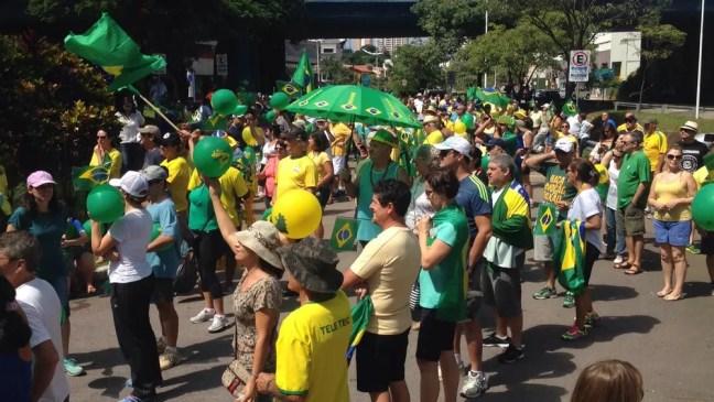 Manifestantes fazem ato em apoio à Lava Jato em Jundiaí (Foto: Wellington Silva/TV TEM )