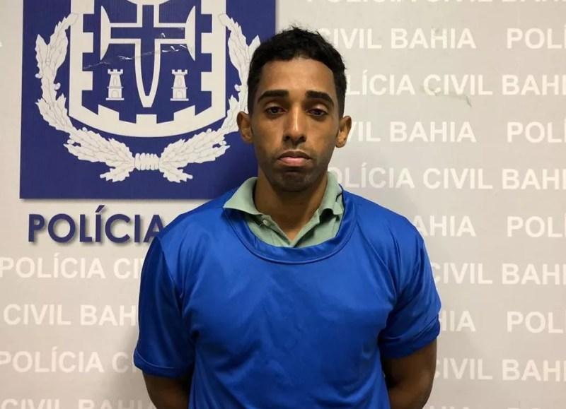 Alessandro Santos foi preso por matar a namorada em Mata de São João, na Bahia — Foto: Polícia Civil/ Divulgação