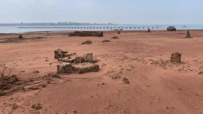 Ruínas de antiga cidade de Rubineia reapareceram  — Foto: Reprodução/Tv Tem