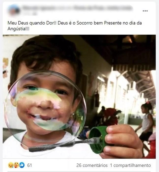Familiares demonstraram a dor da perda da criança em postagens nas redes sociais  — Foto: Reprodução/Redes Sociais