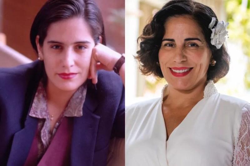Gloria Pires em 'Vale Tudo', de 1988, e em 'Éramos Seis', de 2020 — Foto: Acervo TV Globo   Paulo Belote/Globo