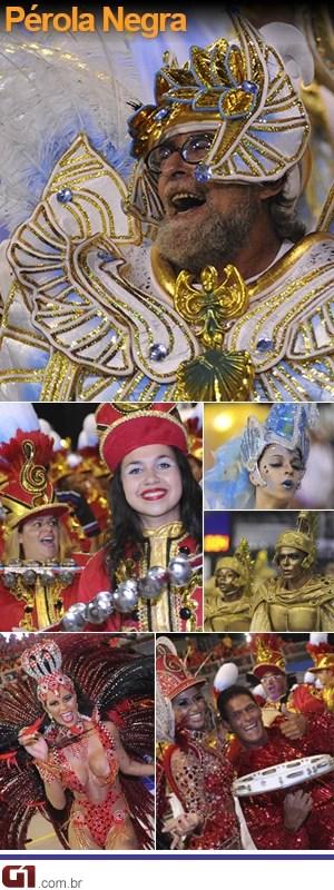 Fotos do desfile da Pérola Negra (Foto: Editoria de Arte/G1)