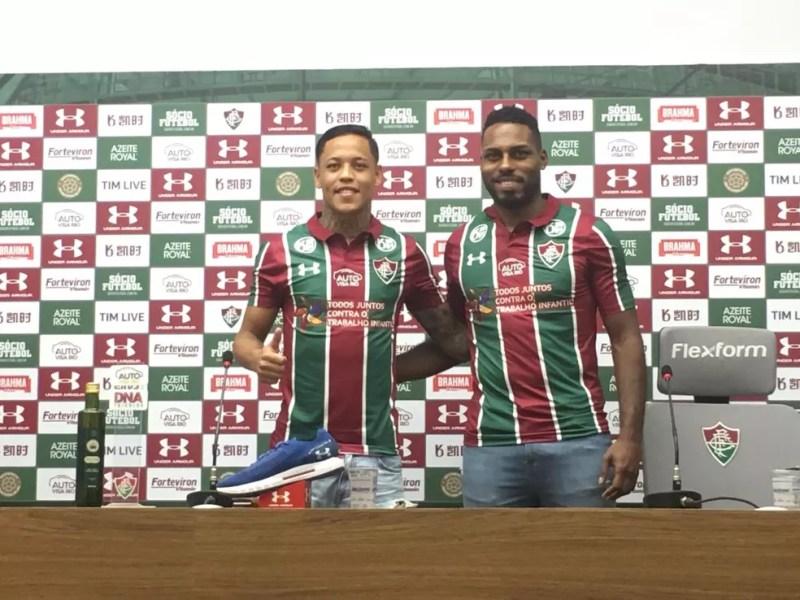 Orinho e Luccas Claro foram apresentados na tarde desta quinta-feira no CT do Fluminense — Foto: Thayuan Leiras/GloboEsporte.com