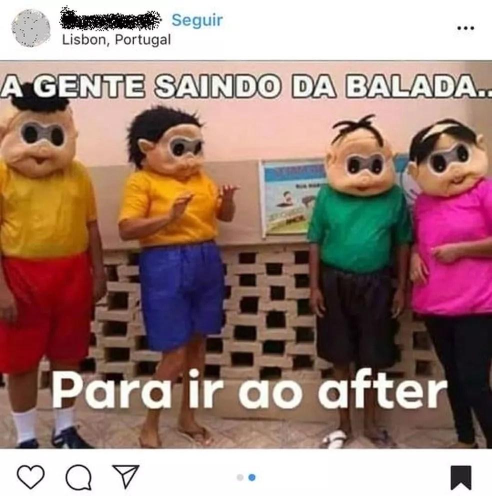 Meme da Turma da Mônica compartilhado por perfil em Portugal — Foto: Instagram/Reprodução