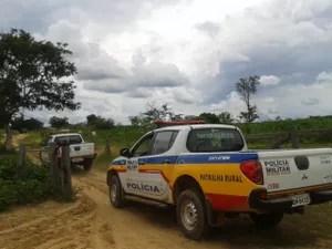 Equipe da PM percorreu fazenda nesta segunda (Foto: Michelly Oda/G1)
