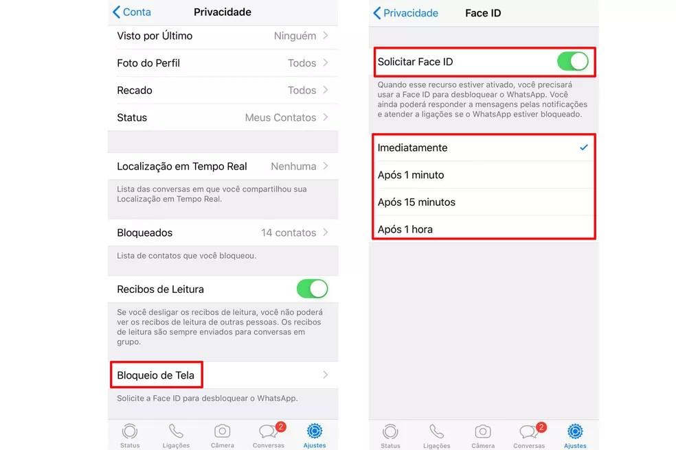 """Acessando """"Bloqueio de Tela"""" e ativando a proteção dia Face ID do WhatsApp no iPhone — Foto: Reprodução/Anna Kellen Bull"""