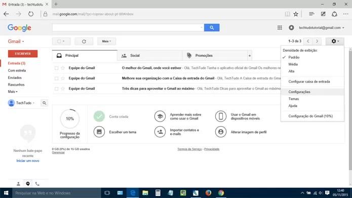Entre nas configurações do Gmail para dar seguimento ao tutorial (Reprodução)