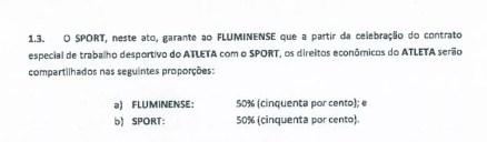 Contrato entre Sport e Fluminense no caso Diego Souza (Foto: Reprodução)
