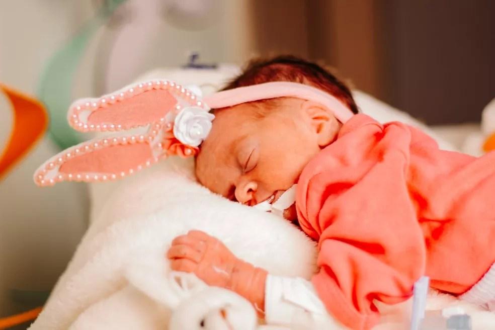 Maria Alice nasceu no último dia 23 e precisou ir para UTI devido uma infecção  — Foto: Arquivo/Hospital Santa Juliana