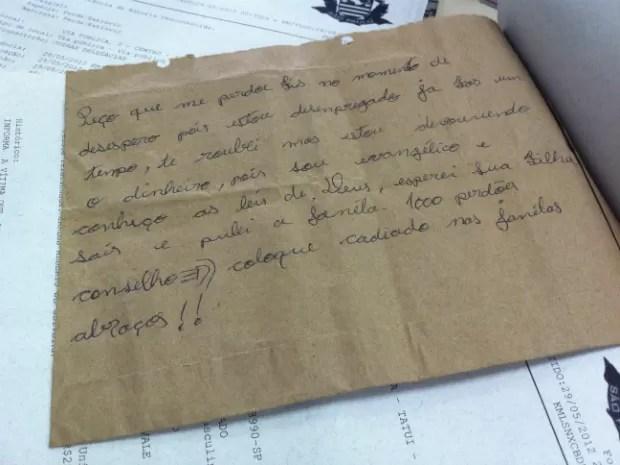 Bilhete de ladrão (Foto: Divulgação)