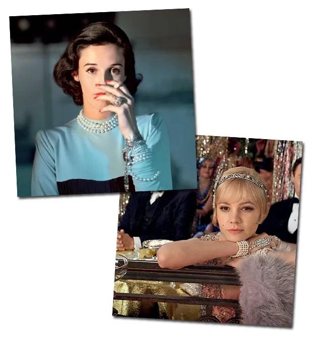 Manias de outrora: a socialite babe Paley (à direita) gostava de usar o longo fio virado para trás, enquanto o remake de O Grande Gatsby disparou a febre pelo sautoir (Foto: Reprodução)