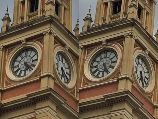 Fotos tiradas na tarde desta terça-feira mostram que relógio da Luz segue funcionando (Foto: Karina Godoy/G1)