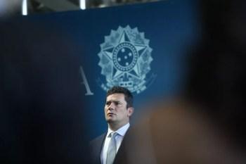 O novo ministro da Justiça e Segurança Pública, Sérgio Moro, durante a cerimônia de transmissão de cargo na manhã desta quarta-feira (2), em Brasília — Foto: Dida Sampaio/Estadão Conteúdo