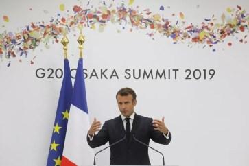 O presidente da França, Emmanuel Macron, durante encontro do G20 em Osaka, no Japão. — Foto: Ludovic Marin/AFP