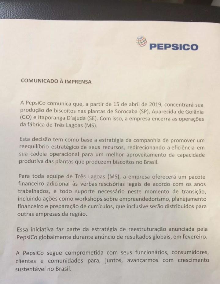 Nota emitida pela empresa  — Foto: TV Morena/Reprodução
