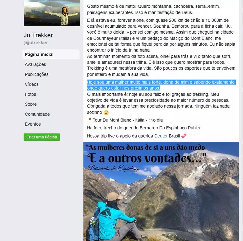 Publicação de Ju Trekker nas redes sociais (Foto: Facebook/Reprodução)