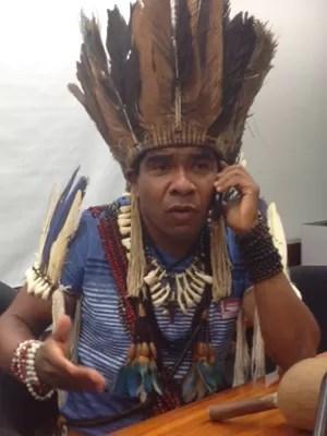 Índio foi à Câmara dos Deputados antes de se entregar à PF, em Brasília (Foto: Nathalia Passarinho/G1)