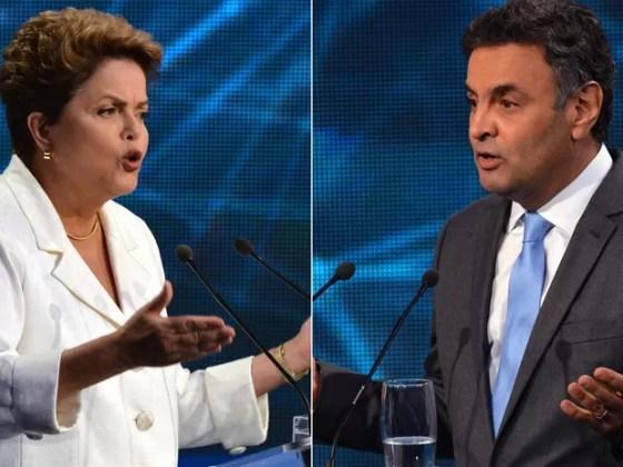 Combinação de fotos dos candidatos à Presidência da República Dilma Rousseff (PT) e Aécio Neves (PSDB) durante debate em São Paulo (SP) (Foto: Nelson Almeida/AFP)