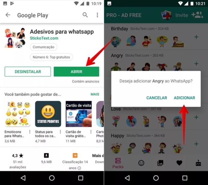 Adicione figurinhas no WhatsApp a partir da loja do Google — Foto: Reprodução/Helito Beggiora