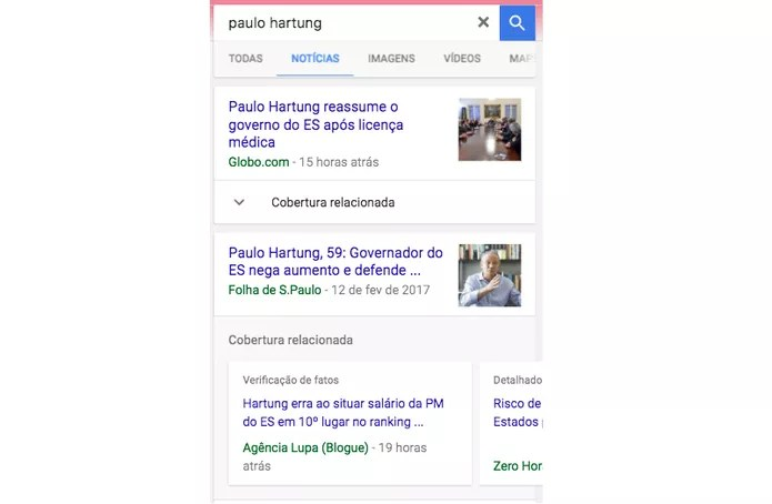Para usar o recurso acesse a busca tradicional ou o Google Notícias (Foto: Divulgação/Google)