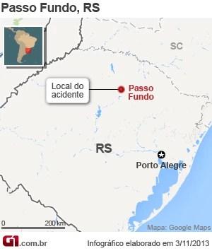 Mapa de Passo Fundo, onde um acidente deixou vítimas e feridos (Foto: Editoria de Arte)
