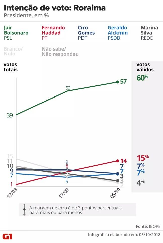 Pesquisa Ibope - Roraima - Evolução da intenção de voto para presidente no estado — Foto: Arte/G1