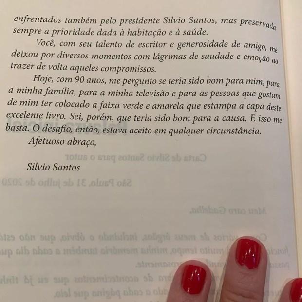 Carta de Silvio Santos para o livro Sonho Sequestrado (Foto: Reprodução/Instagram)