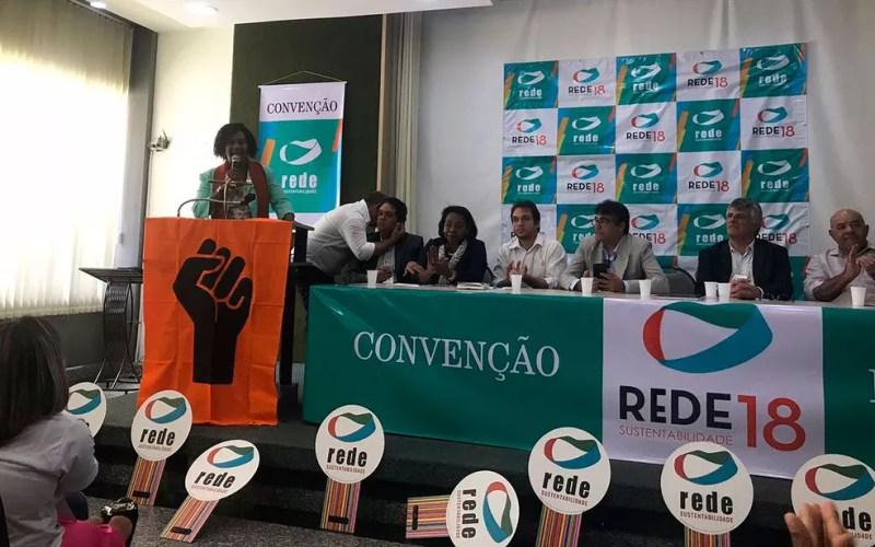 Célia durante discurso em convenção em Salvador (Foto: Alan Tiago Alves/G1)