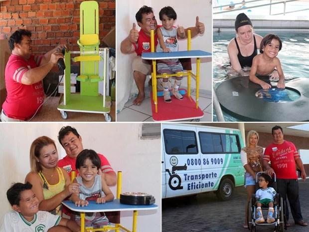 Fotos da família em casa e também durante o tratamento do Rafael no Ceir em Teresina (Foto: Gil Oliveira/ G1)