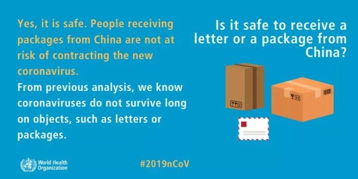Cartaz da OMS diz que é seguro receber encomendas da China  — Foto:  Reprodução/ OMS