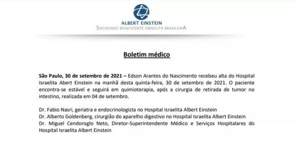 Boletim médico da alta de Pelé — Foto: Reprodução