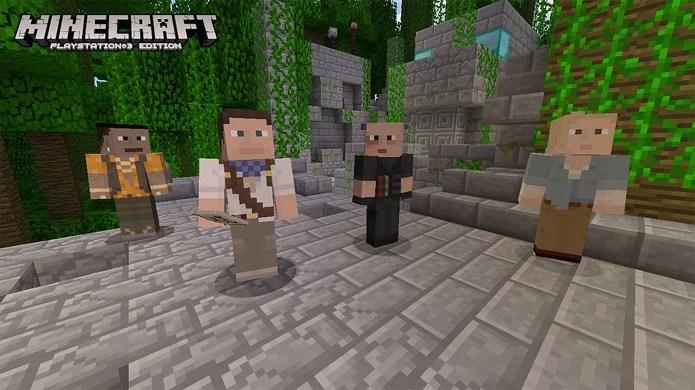 Encarne Nathan Drake e seus amigos no jogo de blocos Minecraft para PlayStation 3 (Foto: PlayStation Blog)