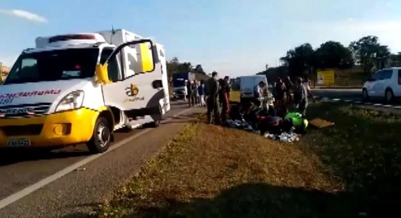 Menino de 11 anos fica ferido ao ser atropelado na Rodovia Santos Dumont, em Campinas (Foto: Reprodução/EPTV)