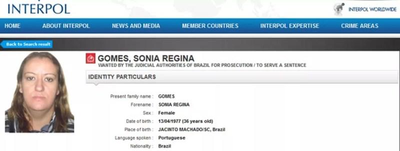 Sônia à época que foi presa e estava na lista da Interpol (Foto: Reprodução/Interpol)