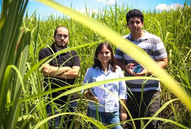 Mariana com os sócios Raphael Pizzi e Thales Nicoleti (Foto: Divulgação/Agrosmart)