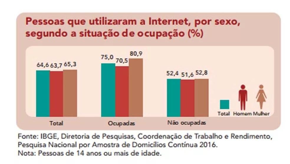 Diferença é superior a 20% no uso da Internet entre pessoas empregadas e desempregadas — Foto: Divulgação/ IBGE