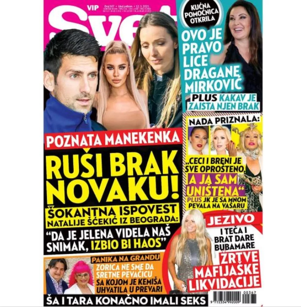 Capa da revista que traz a revelação da modelo que não aceitou seduzir Novak Djokovic — Foto: Reprodução