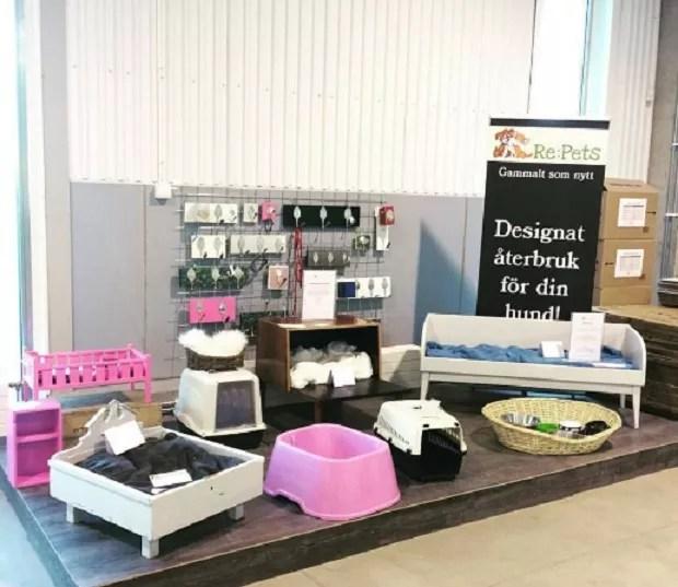 Produtos para pet (segunda-mão) vendidos no shopping da Suécia (Foto: Divulgação)