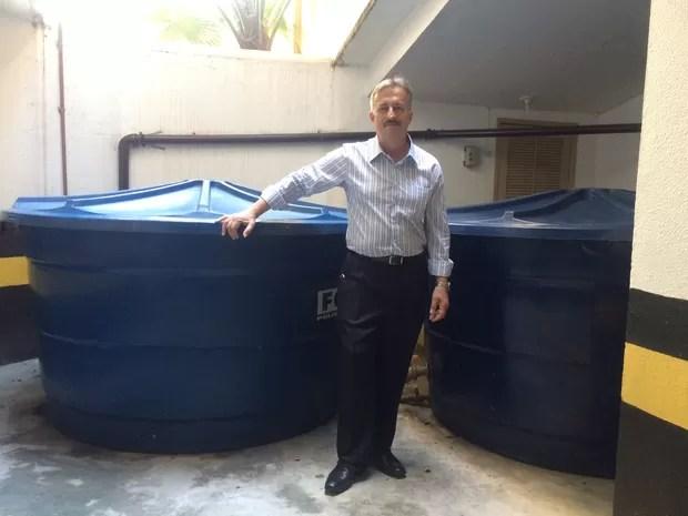 Hélio Breder criou uma estação de captação de água (Foto: Matheus Rodrigues/ G1)